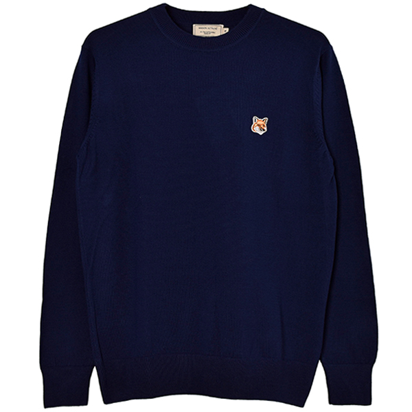 MERINOS R-NECK PULLOVER FOX HEAD PATCH/NAVY