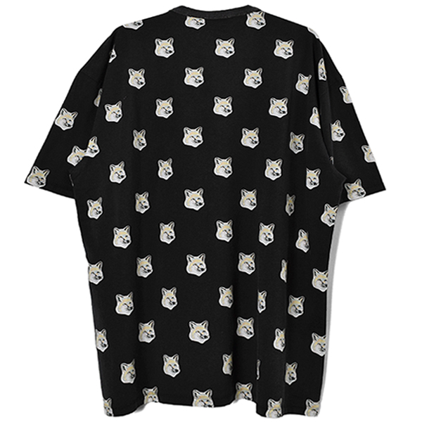 TEE-SHIRT ALL-OVER PASTEL FOX HEAD/BLACK