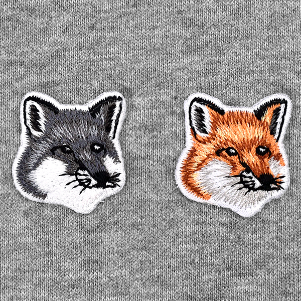 HOODIE DOUBLE FOX HEAD PATCH/GRAY