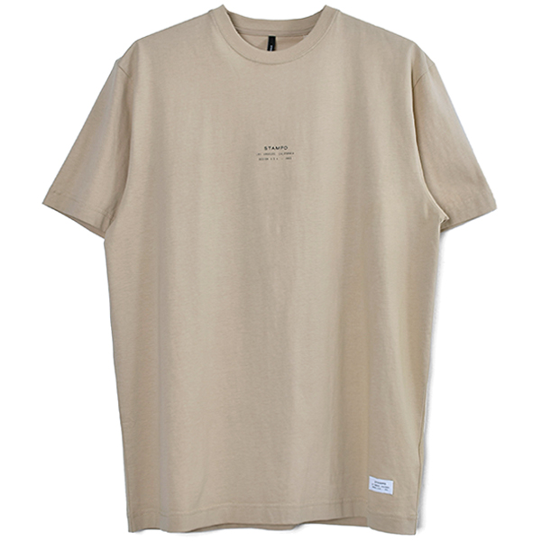 STACKED LOGO TEE/BEIGE