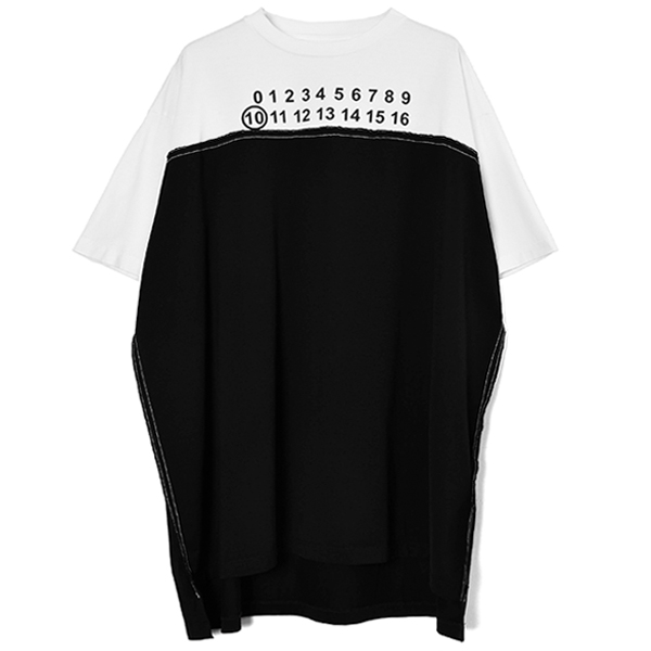 SPLICED LOGO OVER FIT TEE/BLACK