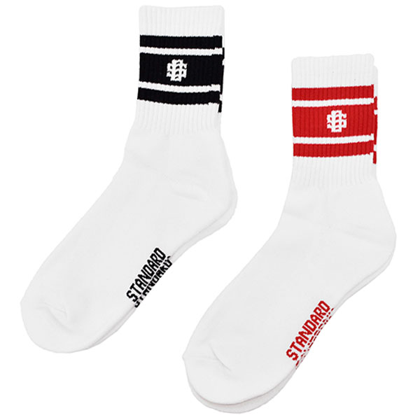 SD Sports Socks-2P/BLACK×WHITE/RED×WHITE