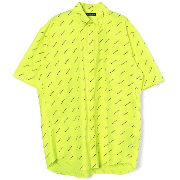 ALLOVER LOGO S/S SHIRT/FLUO YELLOW