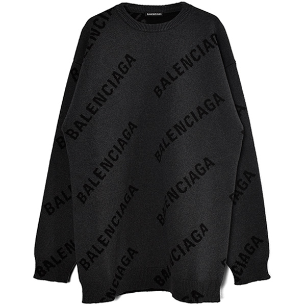 ALL OVER LOGO KNIT SWEATER/GRAY/BLACK