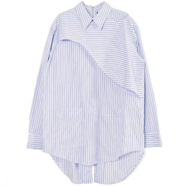 BACK ZIPPED SHIRT/WHITE STRIPE