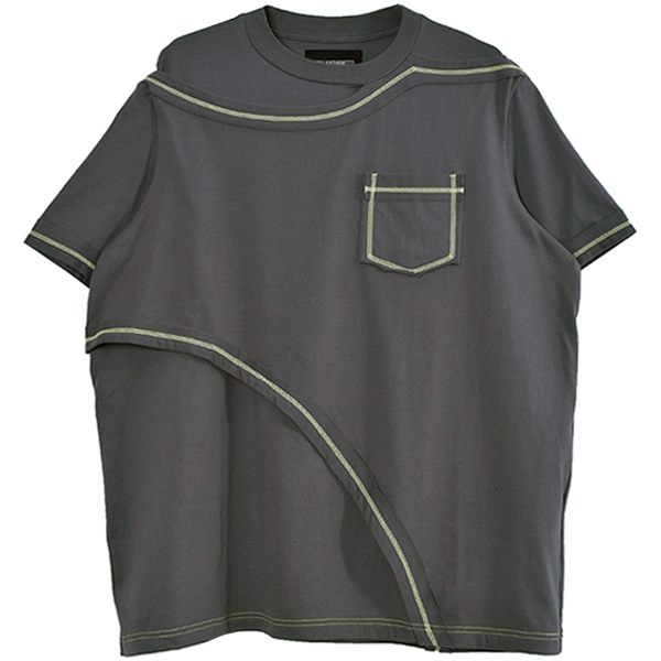 CONTRAST LAYERED T-SHIRT/GREY