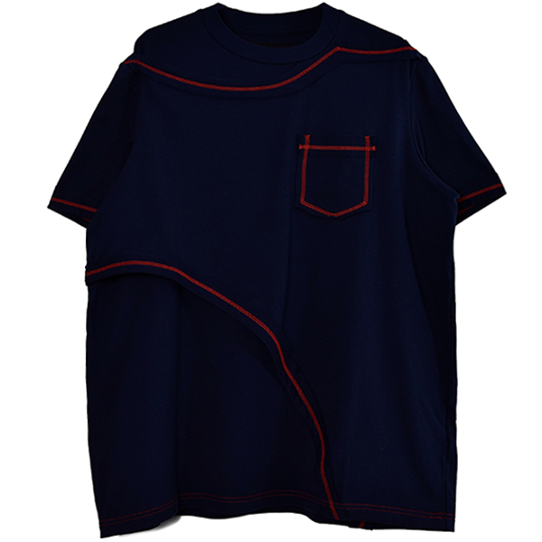 CONTRAST LAYERED T-SHIRT/NAVY