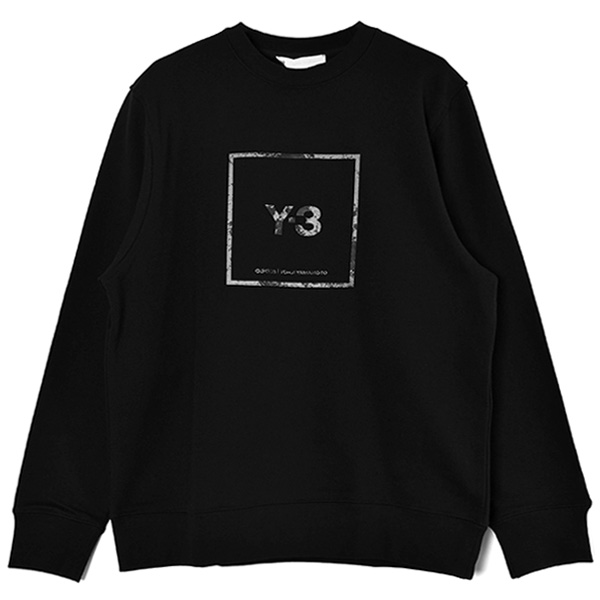 U SQUARE LABEL GRAPHIC CREW SWEAT SHIRT/BLACK(GV6057)