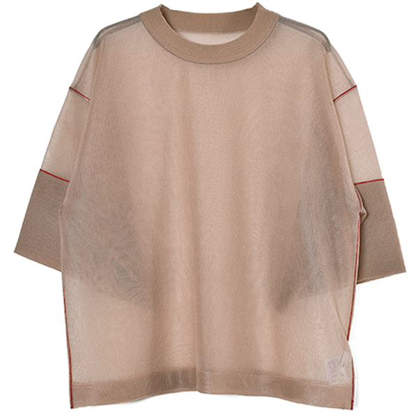 SEE-THROUGH LINE KNIT TOPS/BEIGE(10106-2082)