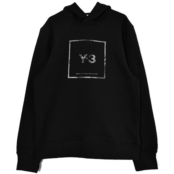 U SQUARE LABEL GRAPHIC HOODIE/BLACK(GV6056)