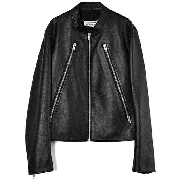 5 ZIP LEATHER JACKET/BLACK(S50AM0489SY1460)