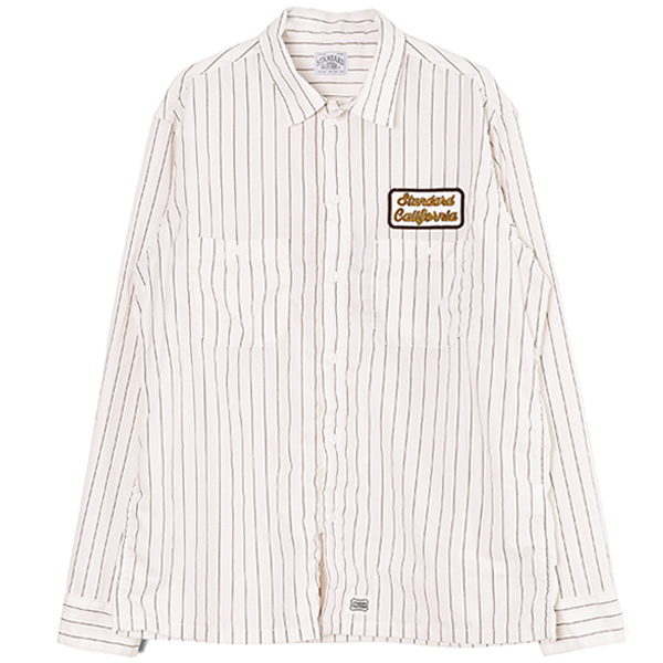 SD T/C Stripe Work Shirt/WHITE