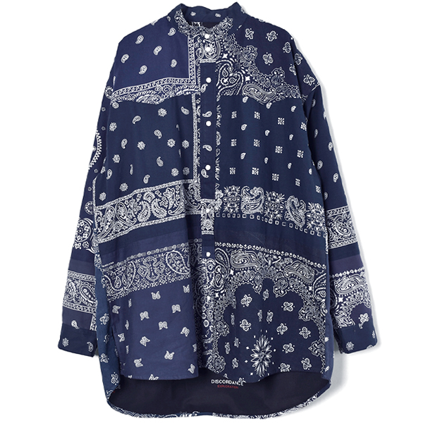 BANDANA PATCH WORK SHIRT LS/NAVY