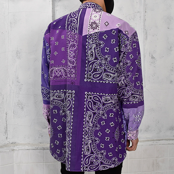 BANDANA PATCH WORK SHIRT LS/PURPLE