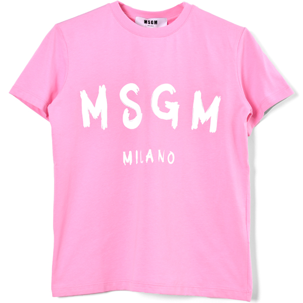 BRUSHED LOGO SHORT SLEEVE T-SHIRT MSGM/PINK