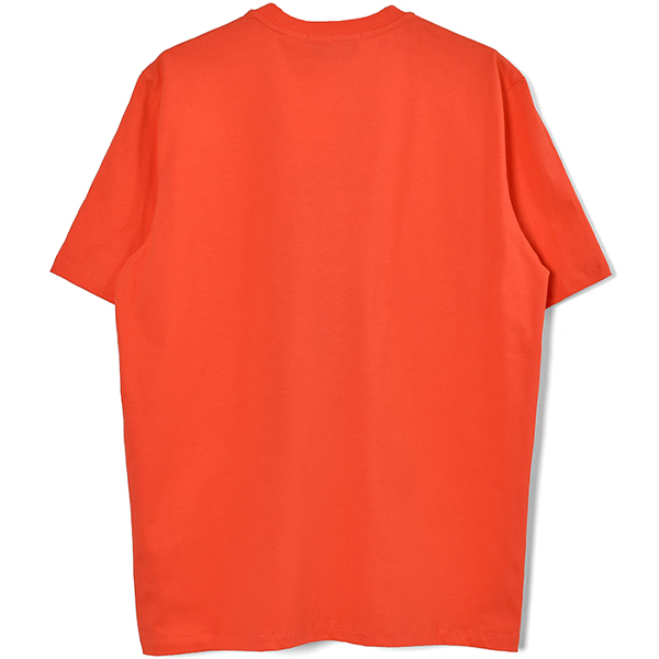 t-shirt with paint brushed logo/ORANGE