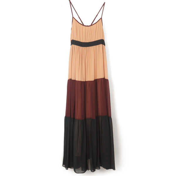 CHIFFON COLOR BLOCK MAXI DRESS/MULTI