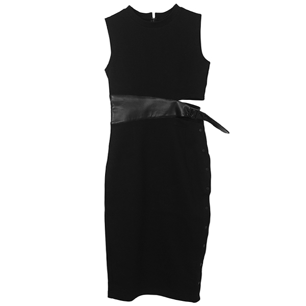 LEATHER BELT SWEAT DRESS/BLACK