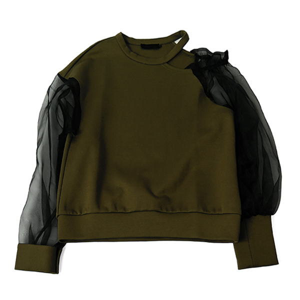 ORGANDY SLEEVE SWEAT/KHAKI