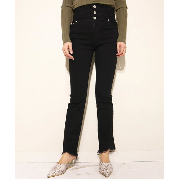 HIGHT WAIST CROPPED DENIM/BLACK