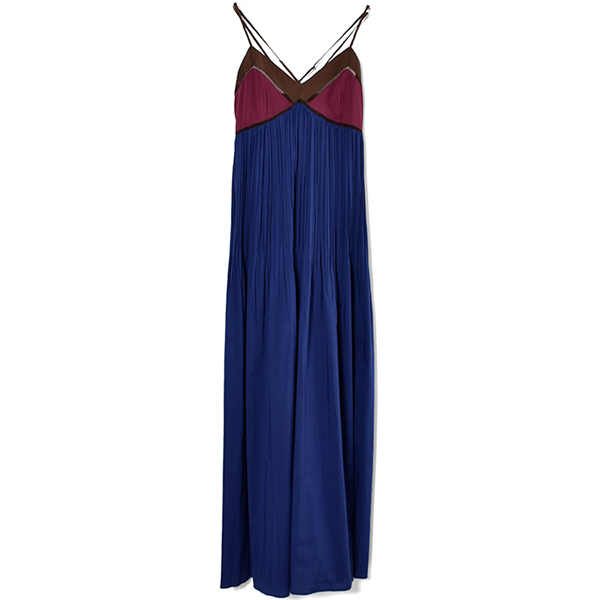 PLEATS MAXI DRESS/BLUE