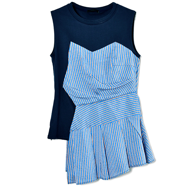PEPLUM COMBINATION TOPS/NAVY