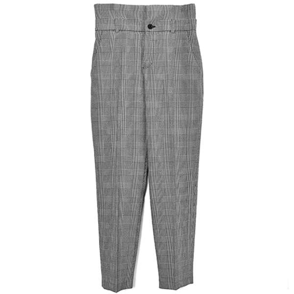HIGH WAIST CHECK PANTS/BLACK
