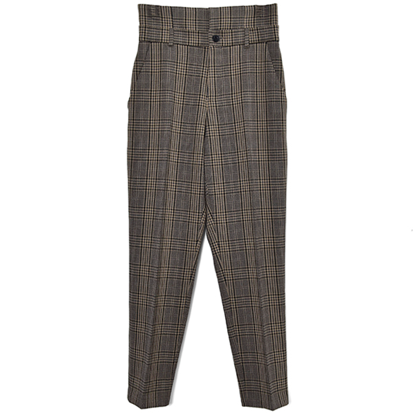 HIGH WAIST CHECK PANTS/BROWN