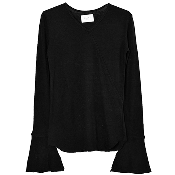 WASHABLE WOOL V NECK PULLOVER/BLACK