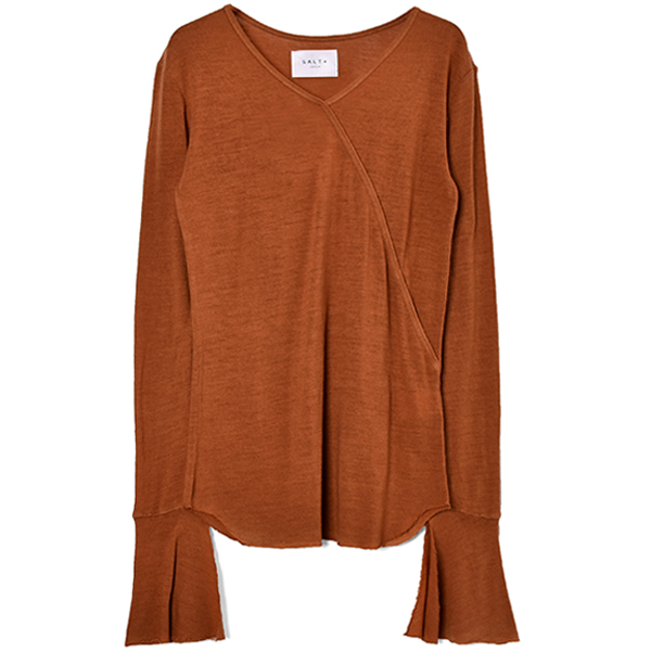 WASHABLE WOOL V NECK PULLOVER/BROWN