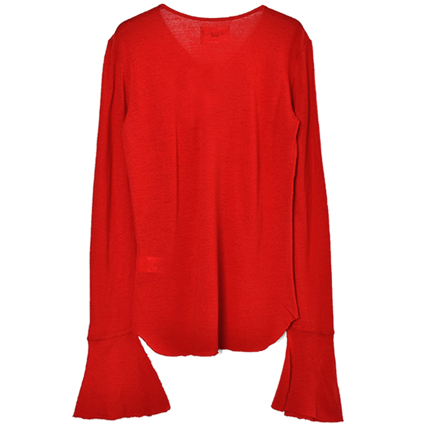 WASHABLE WOOL V NECK PULLOVER/RED