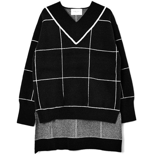 WINDOWPANE CHECK KNIT PULLOVER/BLACK