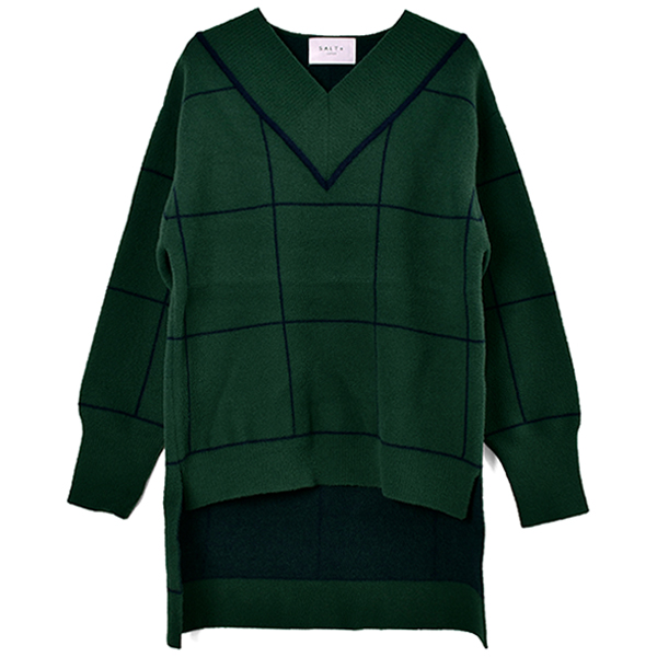 WINDOWPANE CHECK KNIT PULLOVER/GREEN