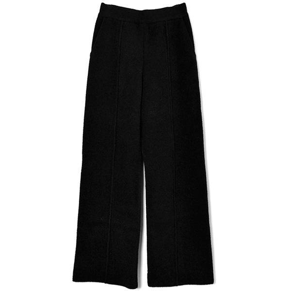 STRAIGHT KNIT PANTS/BLACK