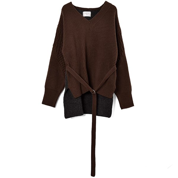 BICOLOR KNIT PULLOVER/BROWN