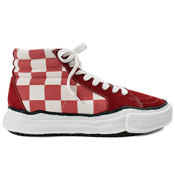 big gingham hitop sneakers/RED