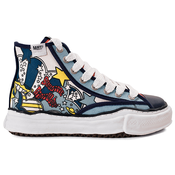 original sole printed canvas hitop sneaker/NAVY