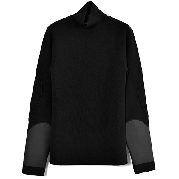 OUTSIDE SEAM TURTLE NECK/BLACK