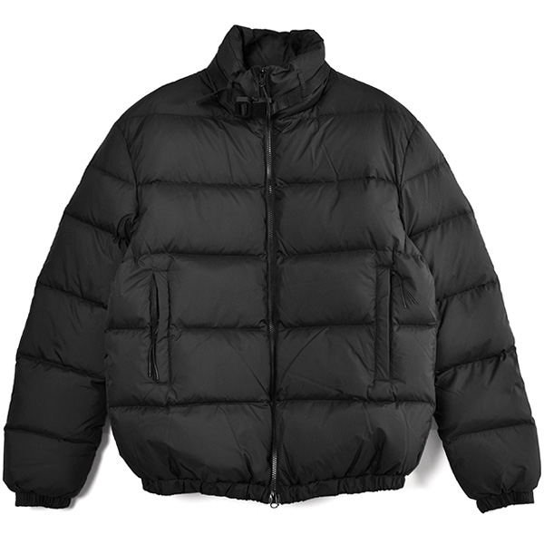 PUFFER COAT W NYLON BUCKLE/BLACK