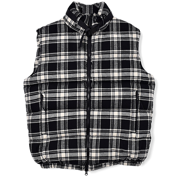 PUFFER VEST CHECK BUCKLE/BLACK