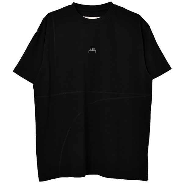 OVERLOCK T-SHIRT WITH MESH LOGO/BLACK