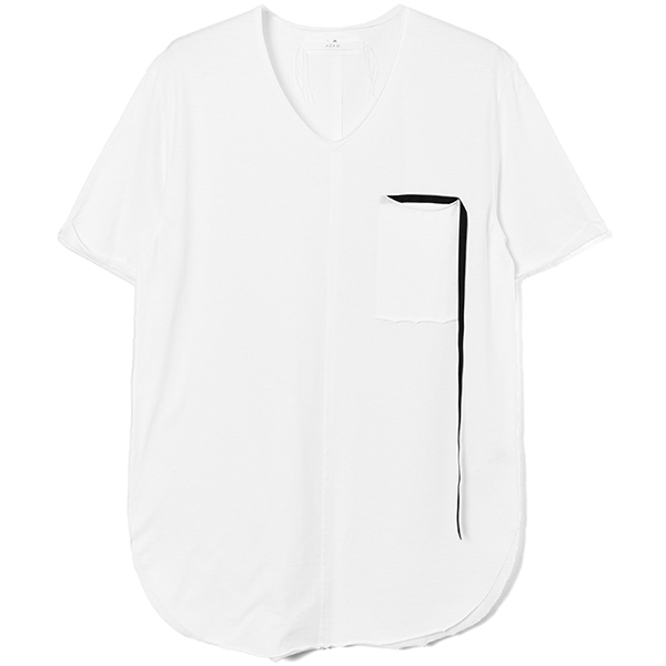 RIBBON POCKET CUTSEW / WHT(BLK RIBBON)