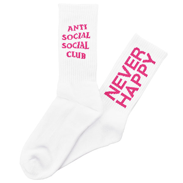 NEVER HAPPY SOCKS/WHITE
