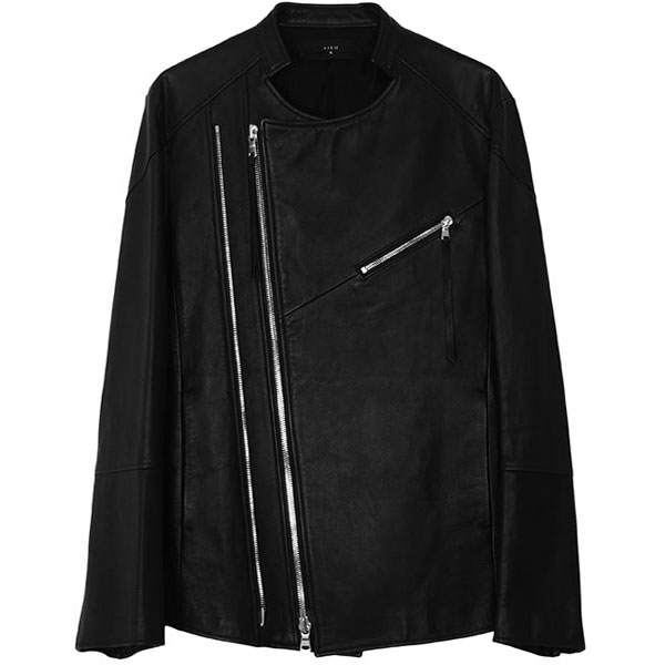 2WIN ZIP LEATHER JACKET / BLK