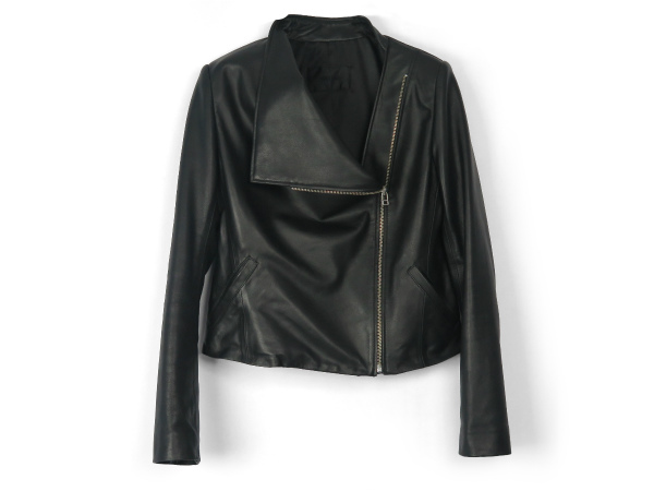 DRAPE LEATHER JACKET/BLACK