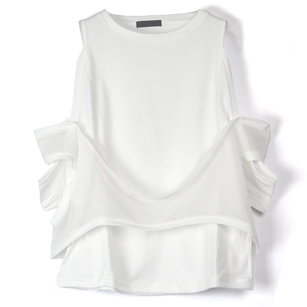 MESH COMBI OFF SHOULDER TOP/WHITE