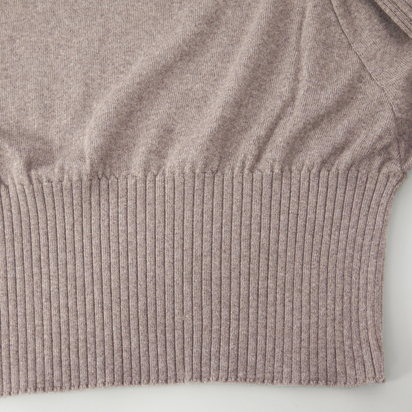 RIB DRAPE KNIT TOPS/BROWN