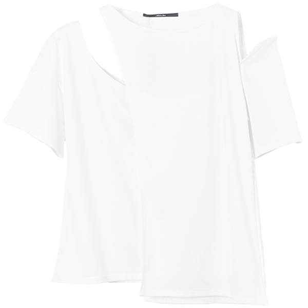 COMBI SLIT T-SHIRTS/WHITE