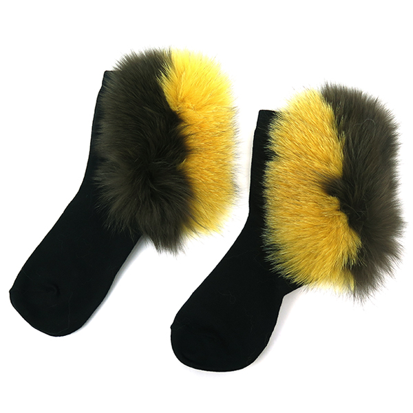 FUR SOX/KHAKI×YELLOW