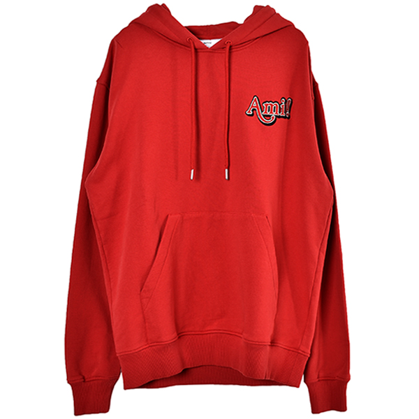 AMI  EMBROIDERY HOODIE/RED